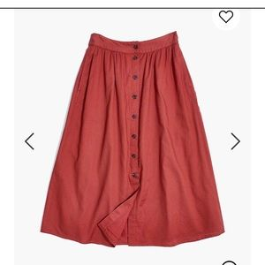 Madewell palisade button front skirt